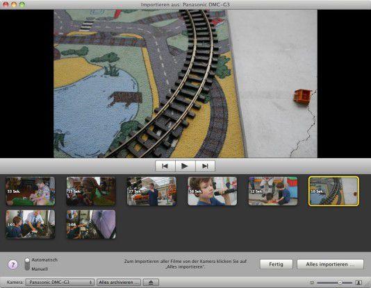 Die im AVCHD gespeicherten Videoaufnahmen der Panasonic Lumix DMC-G3 werden von iMovie anstandslos erkannt und importiert.