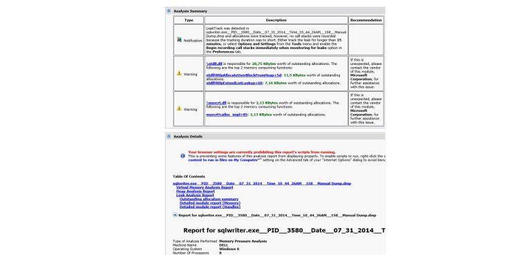 Nach der Analyse erhalten Sie einen umfassenden Bericht auf Basis einer HTML-Datei (MHT). Diese können Sie auch an externe Dienstleister versenden, da sie alle notwendigen Informationen enthält.