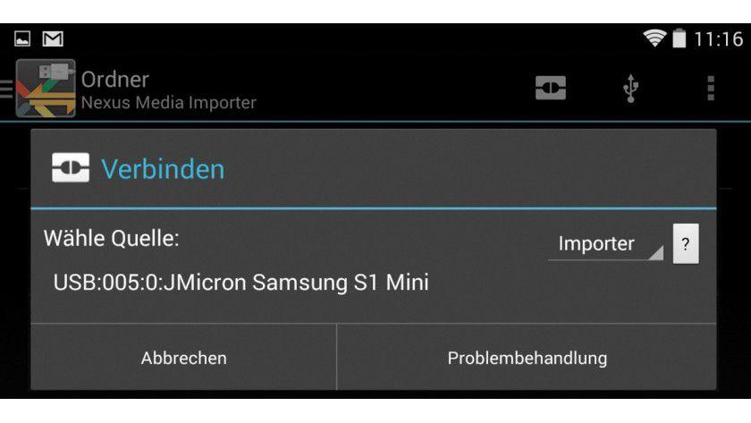 Externen Speicher an das Nexus 7 anschließen.