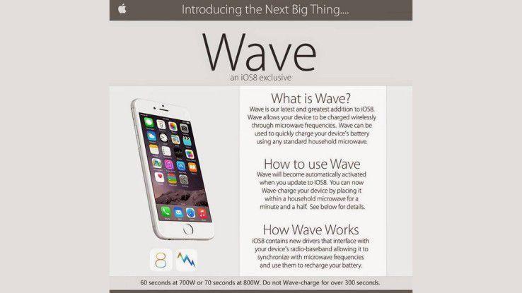 Apple-Gerät aufladen per Mikrowelle: 60 Sekunden bei 700 Watt oder 70 Sekunden bei 800 Watt