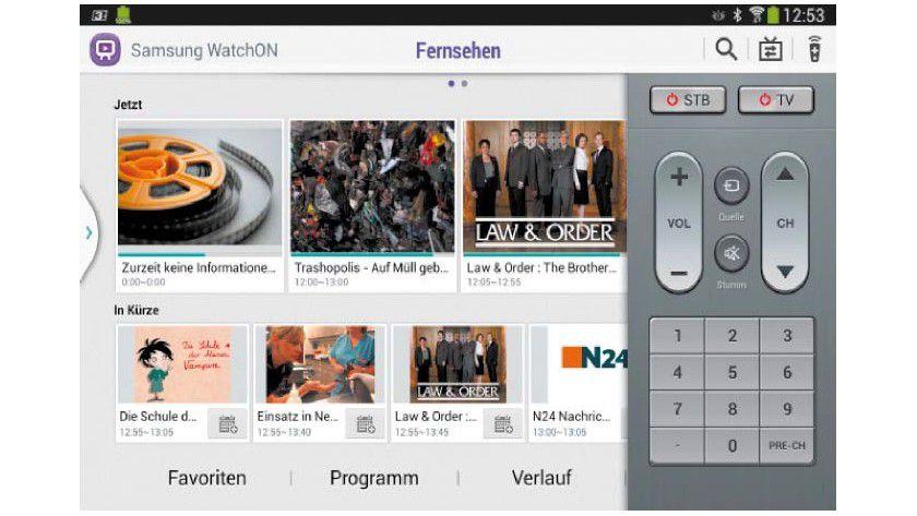Samsung Watchon: Die Samsung-Fernbedienungs- App läuft nur auf Samsung-Smartphones und -Tablets. Über den elektronischen Programmführer schalten Sie direkt zur gewünschten Sendung.