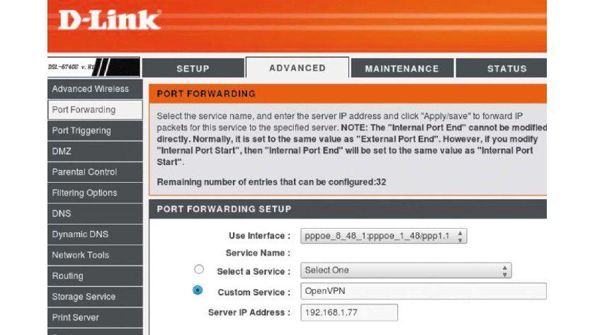 Portforwarding auf dem Router: Damit der Open-VPN-Server im LAN erreichbar ist, muss der Router den verwendeten Port 1194 für Open VPN zum richtigen PC durchreichen (hier 192.168.1.77).