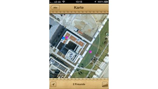 """""""Meine Freunde suchen"""" findet andere Nutzer, die ihren Standort freigegeben haben."""