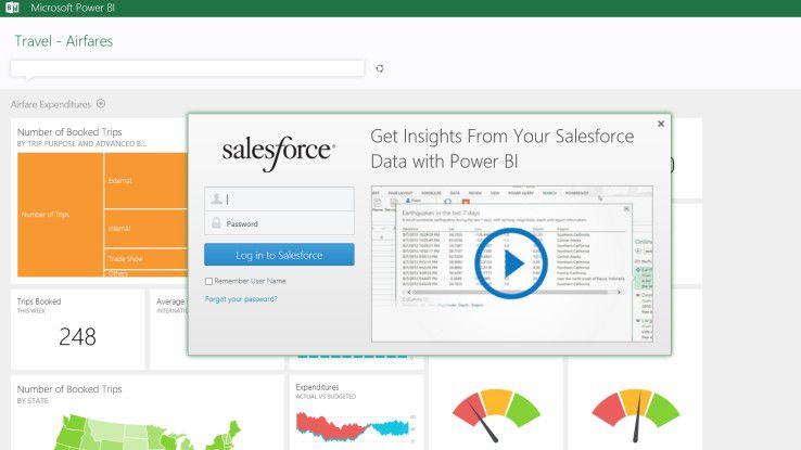 Screenshot Salesforce und Microsoft BI-Integration.