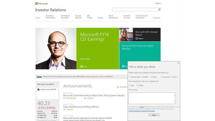 One-Click-Feedback bei Microsoft