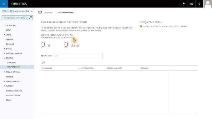 Intune for Office 365 wird per Reiter in die Verwaltungskonsole integriert.