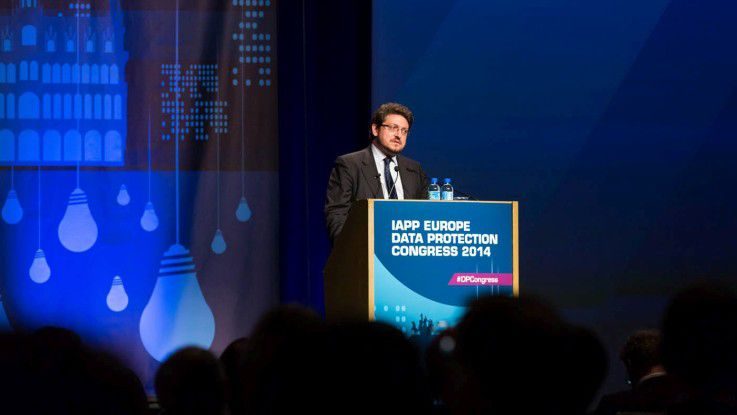 """Luca De Matteis, Vertreter der derzeitigen italienischen EU-Ratspräsidentschaft, im Hinblick darauf, dass die EU-Verantwortlichen beim Datenschutzgrundverordnung-Gesetzesvorhaben auf die Bremse treten: """"Das ist von der Wahrheit weit entfernt."""""""