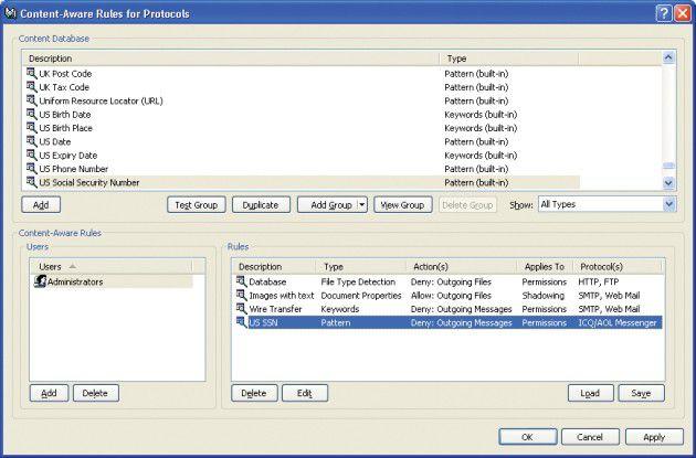 Die Kontrolle von Dateizugriffen kann abhängig gemacht werden von bestimmten Inhalten wie Geburtsdaten, Versicherungsnummern oder Internetadressen. Neben Keywords können DLP-Lösungen auch bestimmte Textmuster suchen, um Daten hinsichtlich ihres Schutzbedarfs einzustufen.