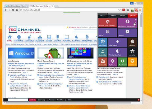 """Aufräumen mit dem Add-on """"Click and Clean"""": Die moderne Kacheloberfläche fügt sich hier gut in den Chrome-Browser ein."""