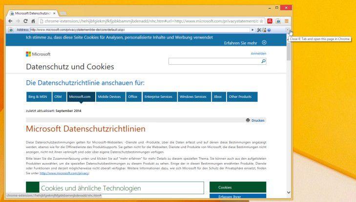 """Auch Web-Seiten, die nur für den Internet Explorer entwickelt wurden, lassen sich mit Hilfe von """"IE Tab"""" korrekt in Chrome darstellen."""