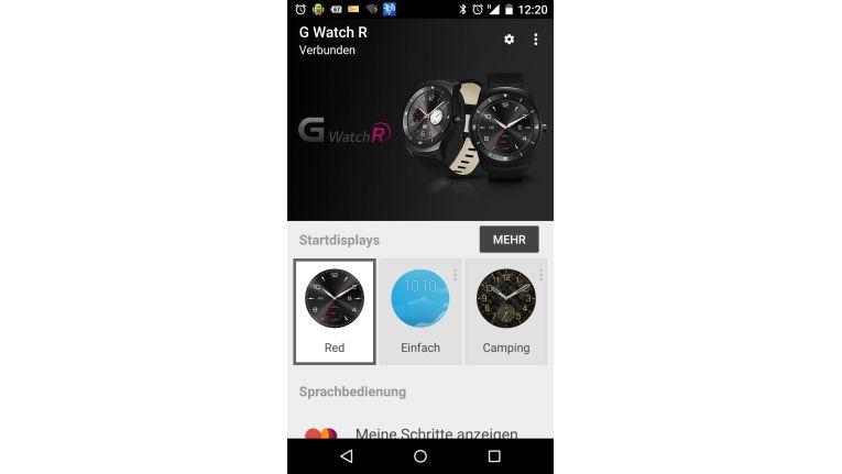 Über die App Wear wird die Smartwatch per Smartphone konfiguriert.