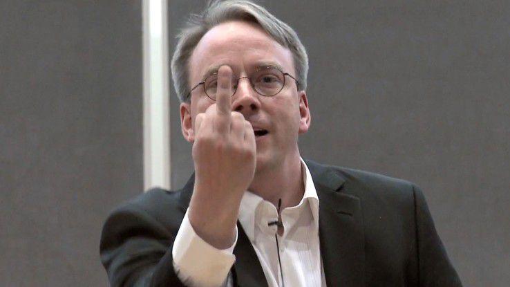 Linus Torvalds - hier zeigt er 2012 Nvidia den Stinkefinger...