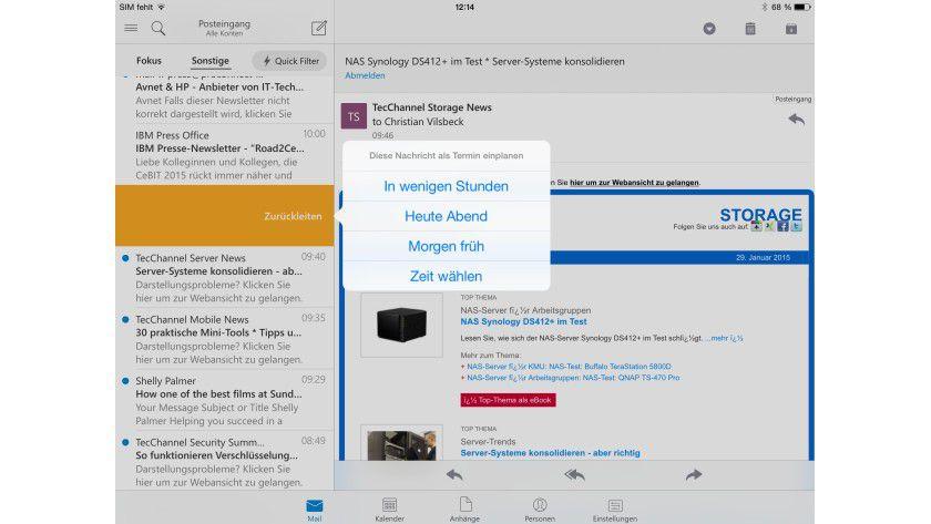 Microsoft Outlook für iOS führt E-Mail und Kalender auf dem iPad und iPhone zusammen.