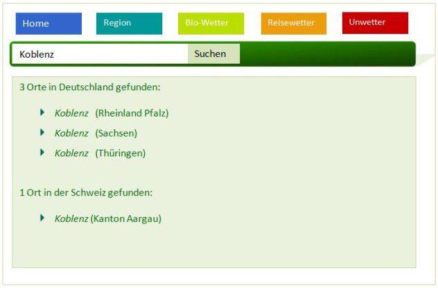 Wetter für Koblenz in Rheinland-Pfalz, in der Schweiz, Thüringen, und Sachsen