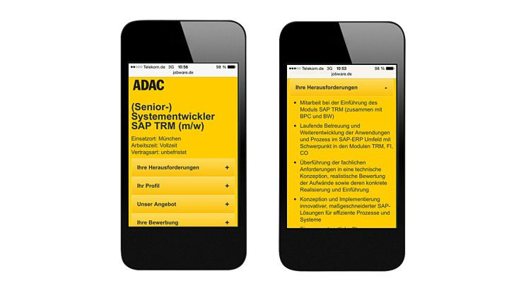 Bei mobilen Stellenanzeigen sollte das Wichtigste ohne Vergrößerung lesbar sein.