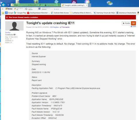 """Mit der Fehlermeldung """"BEX"""" killte ein Update des Symantec Antiviren-Scanners Microsofts Internet Explorer."""