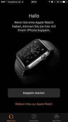 iPhone-App Apple Watch: In iOS 8.2 gibt es die App, um die Smartwatch zu konfigurieren. In der App gibt es auch einen eigenen App Store für die Watch - der ist allerdings noch nicht aktiviert.
