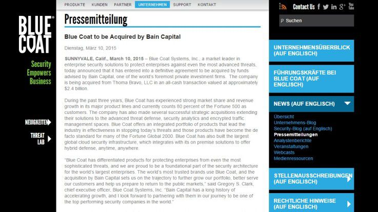 Blue Coat bestätigt den Bain-Capital-Deal auf seiner Website.