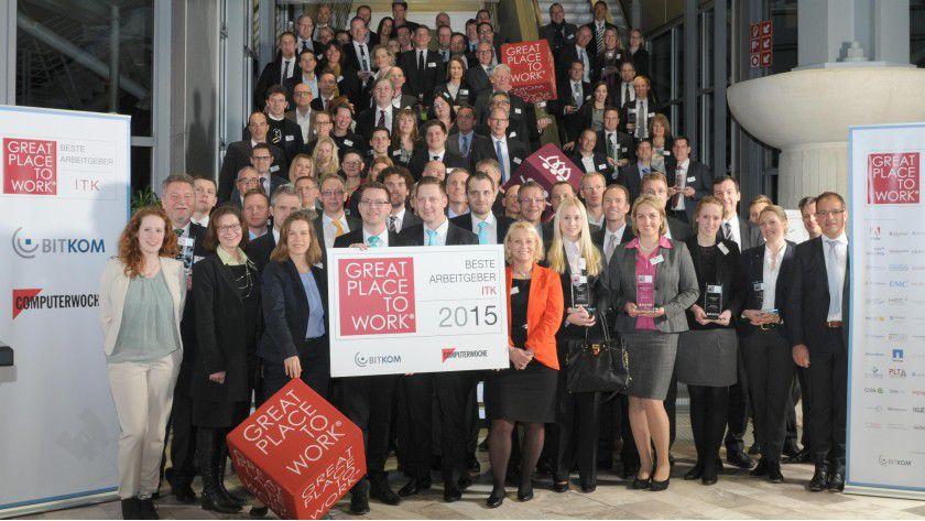 Die Siegerunternehmen 2015 wurden auf der CeBIt ausgezeichnet.