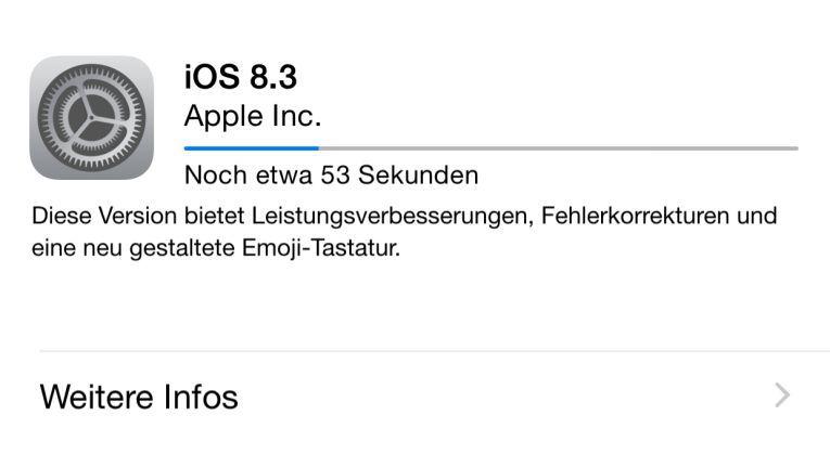 Das Update auf iOS 8.3 ist über die Softwareaktualisierung verfügbar.