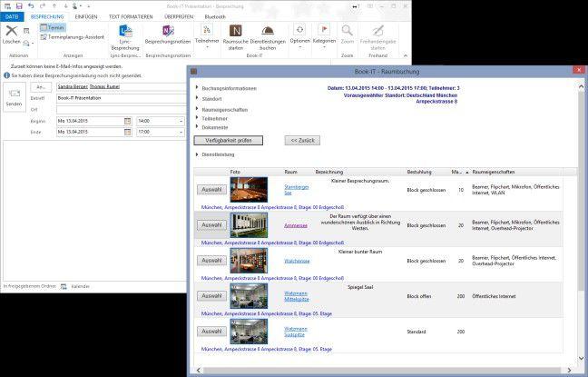 Per Outlook lassen die Meetings inklusive Räume und Catering organisieren.