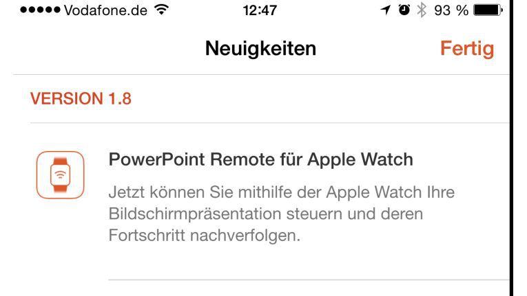 Mit der neue Version der PowerPoint-App kann man Präsentationen auf dem iPhone nun auch per Apple Watch steuern.