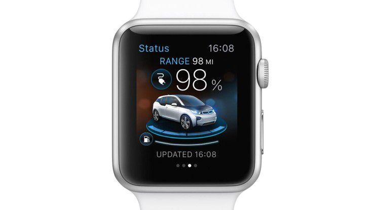Apple Watch-Besitzer, die einen BMW i8 oder i3 fahren können Smartwatch und Auto per App miteinander vernetzen.