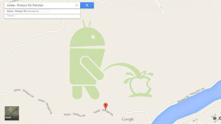 Das Google Maps Pakistan untergeschobene 'Androidken Pis'