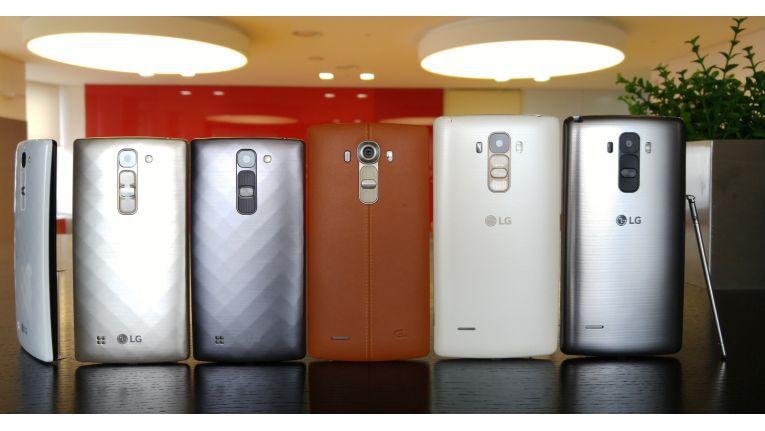 Gruppenbild:LG G4c, LG G4 und LG G4 Stylus (v.l.n.r.)