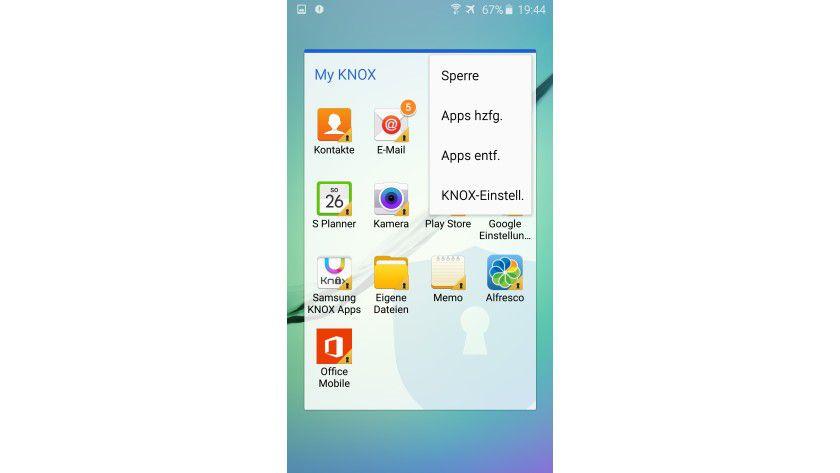 """In den geschützten KNOX Work Container lassen sich Apps aus Google Play ohne erforderliches """"Wrapping"""" hinzufügen."""