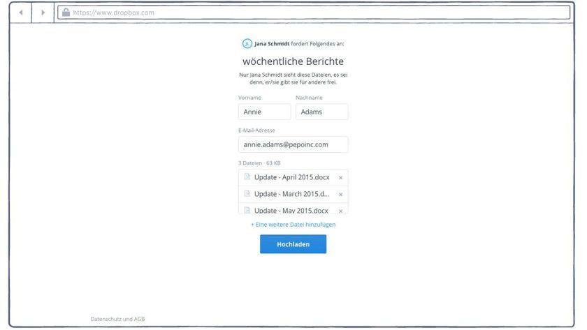 Anschließend kann der Empfänger die gewünschten Files hochladen.