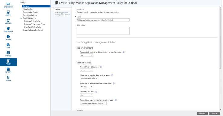Erstellen einer MAM-Policy in Microsoft Intune