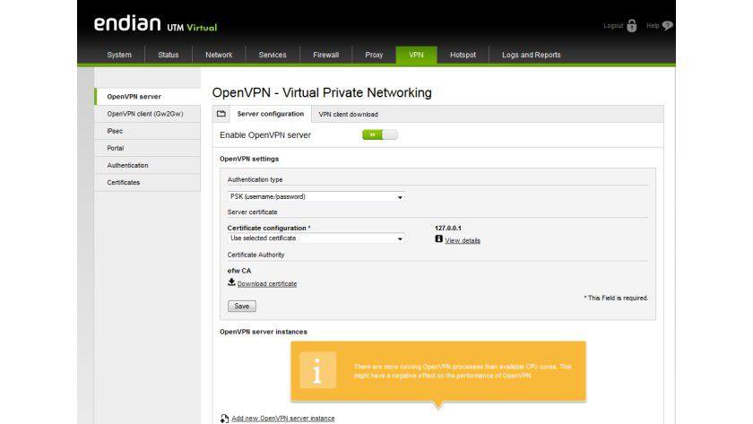 Aktuelle UTM-Firewalls wie hier die Endian UTM Virtual stellen ebenfalls VPN-Zugänge bereit. Dazu gehören dann teilweise auch integrierte OpenVPN-Server.