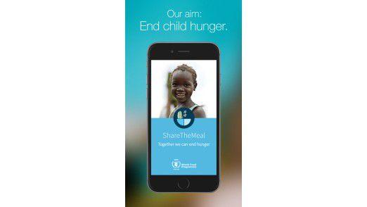 """Die App """"ShareTheMeal"""" ermöglicht es, mit zwei Klicks 40 Cent für eine Mahlzeit am Tag zu spenden."""