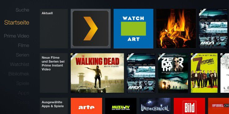 """So sieht die Startoberfläche von Amazons Fire TV aus: Bei """"Aktuell"""" erscheinen die eigenen neuen Apps und Dienste, der gesamte Rest darunter."""