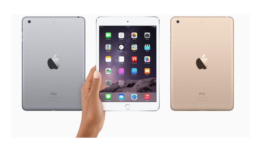 Farbenspiel: Neu ist das iPad mini 3 im goldfarbenen Gehäuse. Grau und Weiß gibt es auch - wie beim Vorgänger Mini 2.