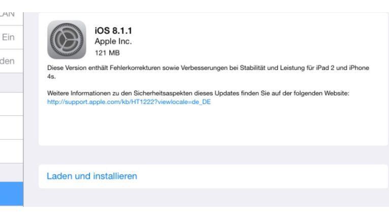 Besonders Nutzer von älteren iPhones und iPads sollten ihr Gerät auf iOS 8.1.1 updaten.
