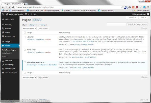 Auch die Verwaltung der Plug-ins funktioniert in Wordpress gut.