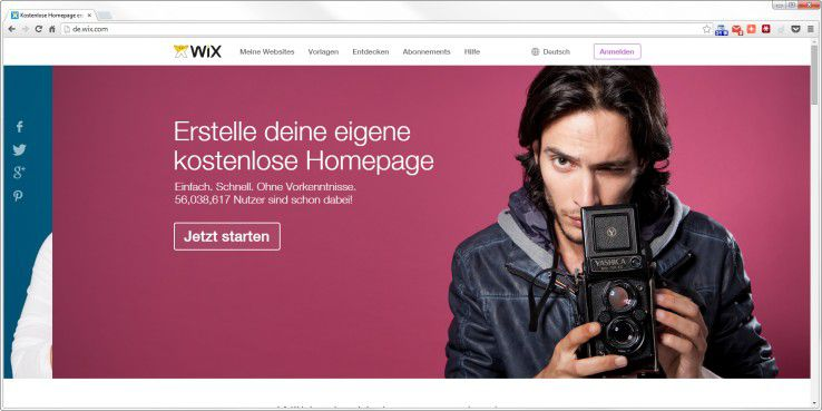 Alternative zu Wordpress: Wix.