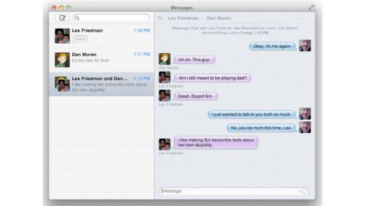In Messages werden alle Chats nun in einem gemeinsamen Fenster abgewickelt, egal, welchen Dienst man verwendet.