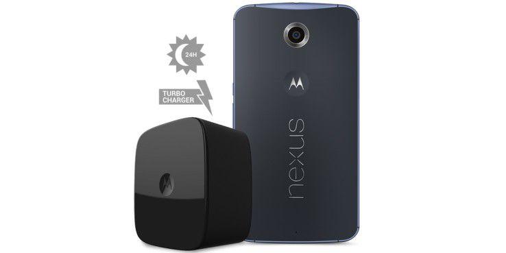 Mit dem Fast-Charging-Adapter laden Sie das Google Nexus 6 besonders schnell auf.
