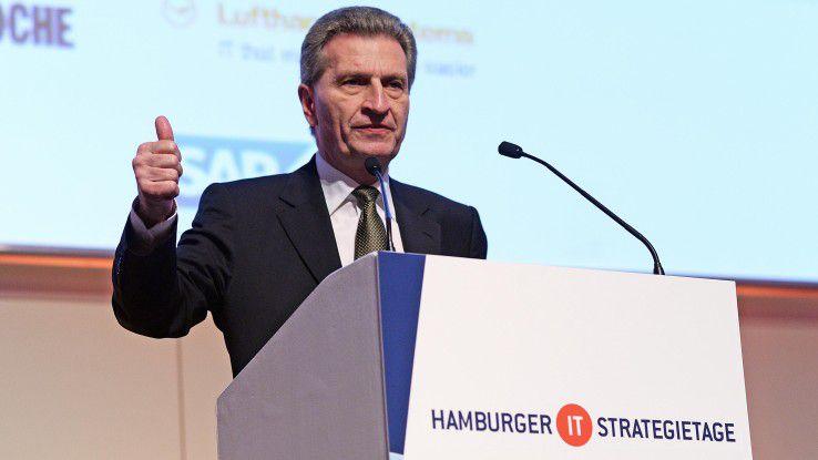 Günther H. Oettinger, EU-Kommissar für Digitale Wirtschaft und Gesellschaft, auf den Hamburger IT-Strategietagen.