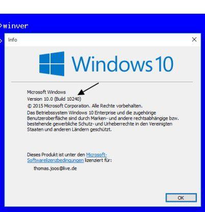 An der Build-Nummer ist auch zukünftig der Versionsstand von Windows 10 zu erkennen.