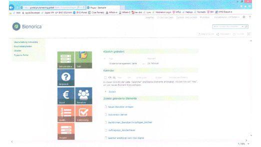 Über die Kachelnavigation gelangt der Nutzer in die einzelnen Themenschwerpunkte.