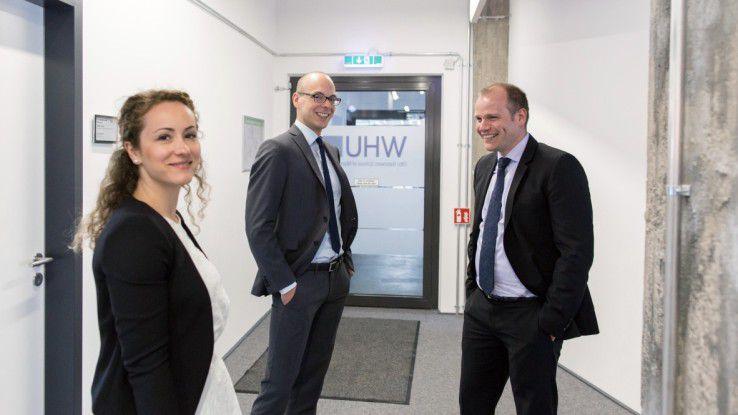 Die Finalisten: Angelica Timofte von Merck sowie Peter Dornheim von der Festo AG (Mitte) und Martin Schaffranski von der Finanz Informatik.