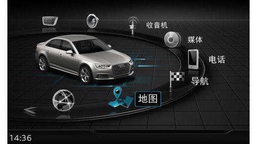 MMI-Ansicht aus einem Audi A4 L in China.