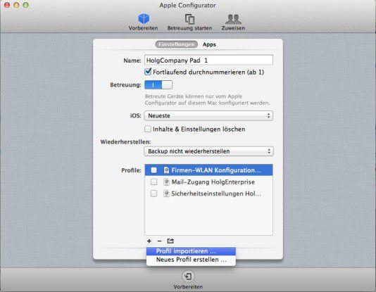 Die Benutzeroberfläche des Apple Configurator