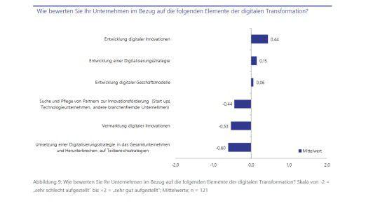Auch in Fragen von Digitalisierungsstrategien und Innovation sehen sich deutschsprachige Unternehmen nicht vorn.