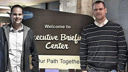 Interhyp-CIO Michael Sonne (rechts im Bild) und innogy-Innovationsmanager Hans-Martin Hellebrand besuchten im Silicon Valley unter anderem Salesforce.
