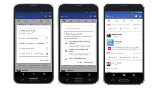 """Facebook kontra Fakenews: Künftig können Nutzer """"Diesen Beitrag als Falschmeldung markieren""""."""